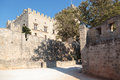 Fortification walls outside rhodes greece Stock Photography
