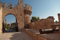 Fortification walls outside rhodes greece Royalty Free Stock Photo