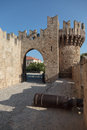 Fortification walls outside rhodes greece Royalty Free Stock Images