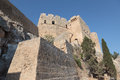 Fortification walls outside rhodes greece Stock Photo