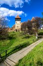 Fortified church of alma vii in transylvania romania rural was built in th century by saxons in gothic architecture style Royalty Free Stock Images