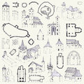 Fortified churches. Hand drawing of plans, elevations, perspectives and details Royalty Free Stock Photo