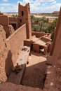 Fortified city with mud houses in the ait benhaddo ksar kasbah benhaddou near ouarzazate against new village morocco Stock Photos