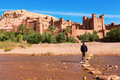 Fortified city with mud houses in the ait benhaddo ksar kasbah benhaddou near ouarzazate morocco Stock Photography