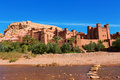 Fortified city with mud houses in the ait benhaddo ksar kasbah benhaddou near ouarzazate morocco Royalty Free Stock Image