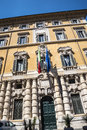 Fortified public building with impressive facade in Rome Italy that has books as the main theme Royalty Free Stock Photo