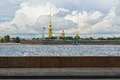 Fortness of st peter and pavel and river neva in st petersburg view to the from the russia Stock Images
