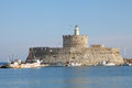 Fortress Ag. Nicolaos on the harbor of Rhodes Royalty Free Stock Photos