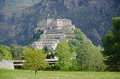 Fortress of bard aosta valley italy view Stock Images