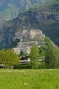 Fortress of bard aosta valley italy view Royalty Free Stock Images