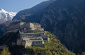 Fortress of bard aosta valley italy view Stock Photos