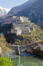 Fortress of bard aosta valley italy view Stock Photography