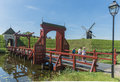 Fortress bourtange in the netherlands entrance and bridge of of de province of groningen Royalty Free Stock Photo