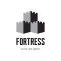 Fortress creative logo sign concept castle tower abstract illustration vector logo template Stock Photos