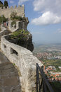 Fortress of Guaita and view of the city of San Marino Stock Photo