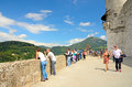 Fortress hohensalzburg in salzburg austria july tourists on the observation deck of on july area of the Stock Photography