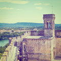 Fortress medieval in the french city instagram effect Royalty Free Stock Photo