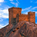 Fortress medieval genoese against blue sky with clouds the crimean peninsula ukraine Royalty Free Stock Photos