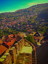 Fortress old city buildings in place jajce bosnia and herzegovina Royalty Free Stock Photography