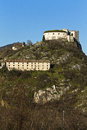 The fortress old on mountain with blue sky Royalty Free Stock Image