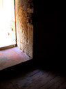 Fortress open door a view from a cell at the château d if in marseille france Stock Image