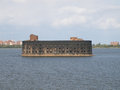 Fortress of peter the great on way to st petersburg in kronstadt fortifications are in form islands forts built in time Stock Images