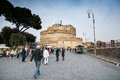 The fortress of sant angelo rome italy march tourists stroll among stalls near castel in rome on a sunny day Royalty Free Stock Images