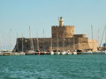 Fortress of St. Nicholas in Rhodes, Greece Royalty Free Stock Photo