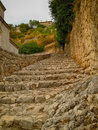 Fortress stairs old city buildings in place jajce bosnia and herzegovina Stock Images