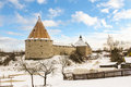 The fortress of Staraya Ladoga in the winter. Royalty Free Stock Photo