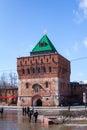 Fortress tower view of the of the kremlin in nizhny novgorod Royalty Free Stock Photo