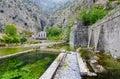Fortress wall of Bastion Riva near river Shkurda, Old town of Kotor