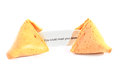 Fortune cookie with message open showing on white background Stock Photo