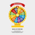 Fortune spinning wheel in flat vector style. Gambling concept Royalty Free Stock Photo