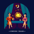 Fortune Teller Cristal Ball Flat Illustration Royalty Free Stock Photo