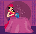 Fortune teller with crystal ball illustration Royalty Free Stock Images