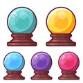 Magic Crystal Sphere or Glass Ball Icons Royalty Free Stock Photo