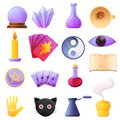 Fortune teller icons set, cartoon style