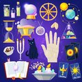 Fortune telling vector fortune-telling or fortunate magic of magician with cards and candles illustration set of Royalty Free Stock Photo