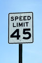Forty five mph speed limit sign a Stock Photo