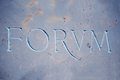Forum inscription on blue marble word ancient roman wall Royalty Free Stock Photos