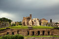 Forum roman view from colosseo rome italy colosseum in the rain Stock Photo
