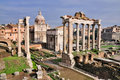 Forum Romanum: Tempel von Saturn Stockfotos