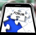 Forum smartphone means online networks and chat meaning Royalty Free Stock Photo