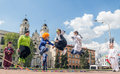 Forum of street theaters minsk belarus may th minsk children jump on a skipping rope Royalty Free Stock Photography