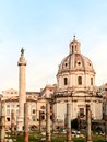 Forum traianum view on the traian in the morning hours with its great column and the cupola in rome italy Stock Photo