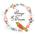 Always and forver card with cute bird floral wreath vector illustration Stock Photography