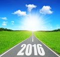 Forward to the new year asphalted road Royalty Free Stock Image
