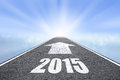 Forward to new year concept asphalt road with arrow Stock Photos