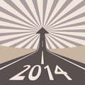 Forward to new year concept asphalt road with arrow Stock Photos